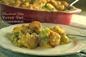 Broccoli and ham tater tot casserole is a great ham casserole that uses leftover ham and a great twist on a favorite casserole.