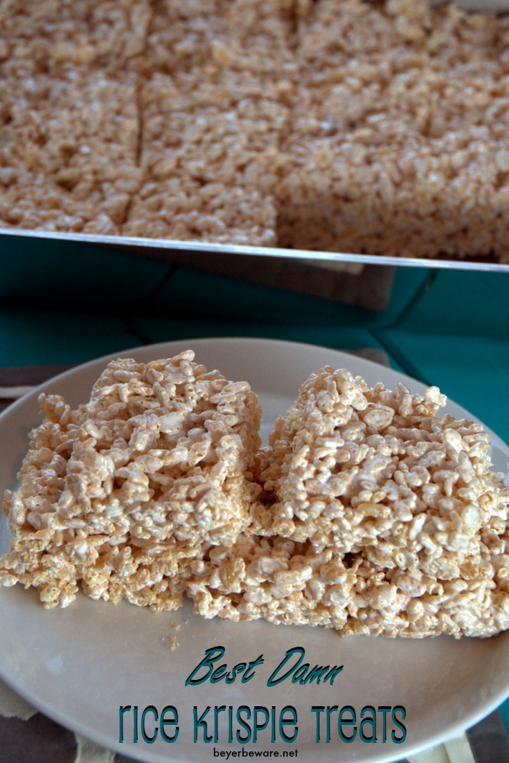 This is the BEST Rice Krispie Treat Recipe. Period. One little change from the traditional recipe will have you hiding these rice krispie treats from your kids.