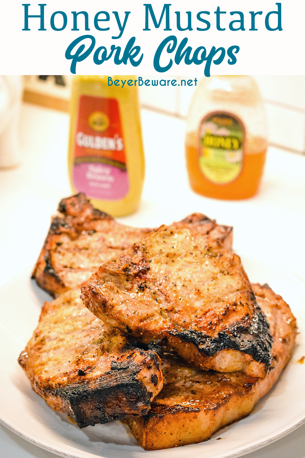 Honey Mustard Pork Chops are a quick and easy pork chop recipe with just four ingredients creating flavorful chops that can be grilled or baked.