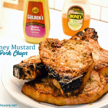 Easy Honey Mustard Pork Chops are a quick and easy grilled pork chop recipe made with honey, spicy brown mustard, and Worcestershire sauce. This honey mustard pork chop recipe is also great to bake and slow cook the pork chops.