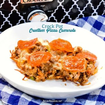 This low carb crock pot pizza casserole is a new favorite pizza recipe even for the folks not eating low-carb since it is full of a lot of meat, cheese, and flavor no one misses the crust or pasta in this crustless pizza casserole.