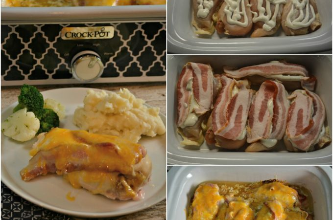 Just 4 ingredients for an easy Crock Pot Bacon Ranch Chicken Recipe. Even if you don't put it together till after work it is still a perfect weeknight dinner.