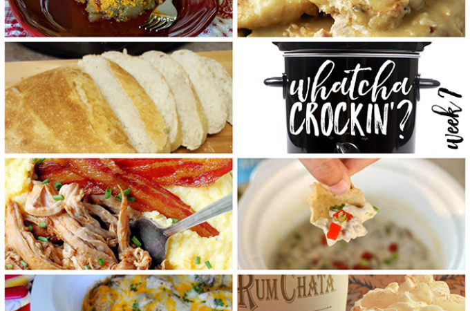 Easy Crock Pot Recipes - This week's Whatcha Crockin' crock pot recipes include Artisan Bread, Crock Pot Chicken Veggie and Rice Casserole, Homestyle Crock Pot Pork Chops, Crock Pot Apple Pumpkin Cake, Sausage Dip, Slow Cooker Apple Butter Glazed Pork Tenderloin, Crock Pot Pumpkin Lattes and more!