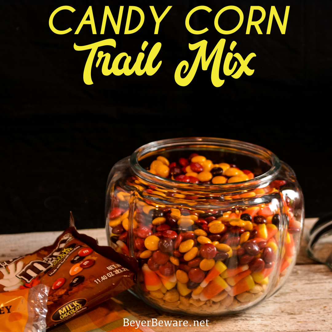 "Candy corn trail mix has a combination of fall candy flavors that is just like a chocolate payday bar with the candy corn, peanut, and m&m trail mix. Nothing says, ""Hello Fall!"" quite like this candy corn snack mix."