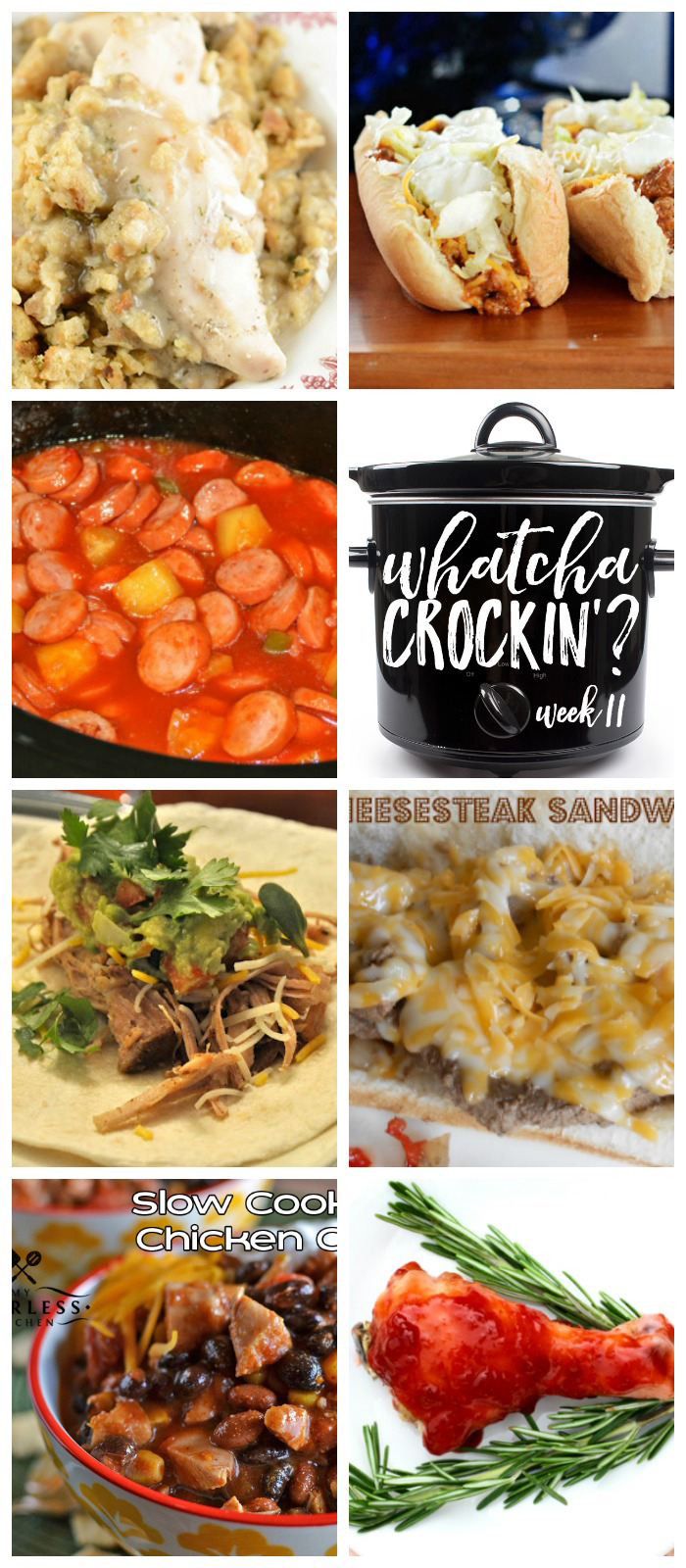 This week's Whatcha Crockin' crock pot recipes include Slow Cooker Cheesesteak Sandwiches, Crock Pot Taco Joes, Slow Cooker Cranberry Chicken Legs, Crock Pot Chicken Stuffing Casserole, Crock Pot Sweet and Sour Smoked Sausage, Crock Pot Pork Carnitas, Slow Cooker Chicken Chili and much more!
