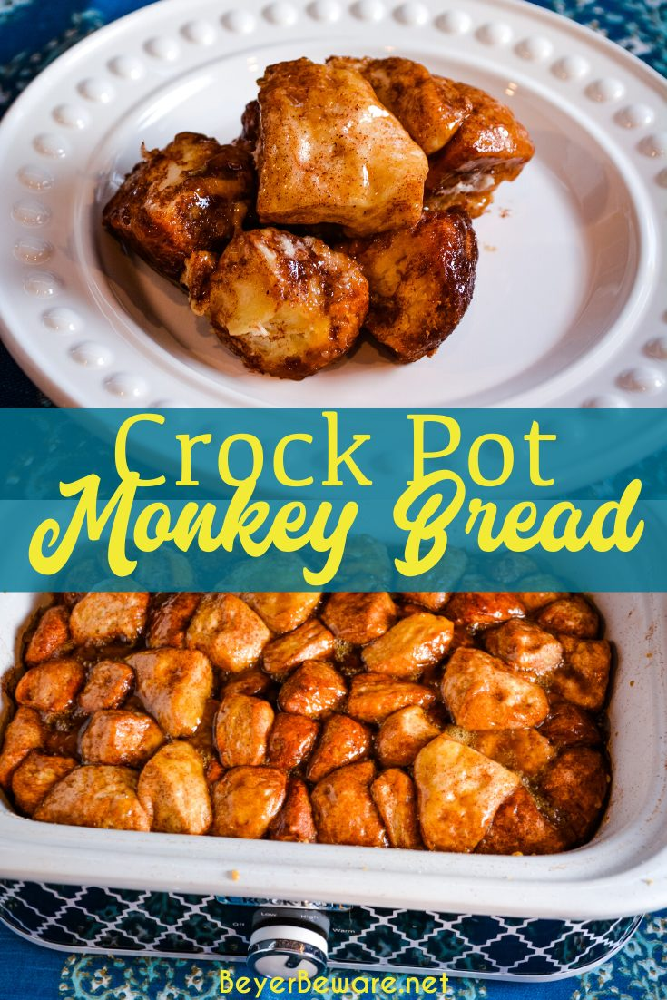 Crock Pot Monkey Bread uses refrigerator Grands biscuits with sugar and cinnamon to create a warm and gooey sticky pull-apart bread.