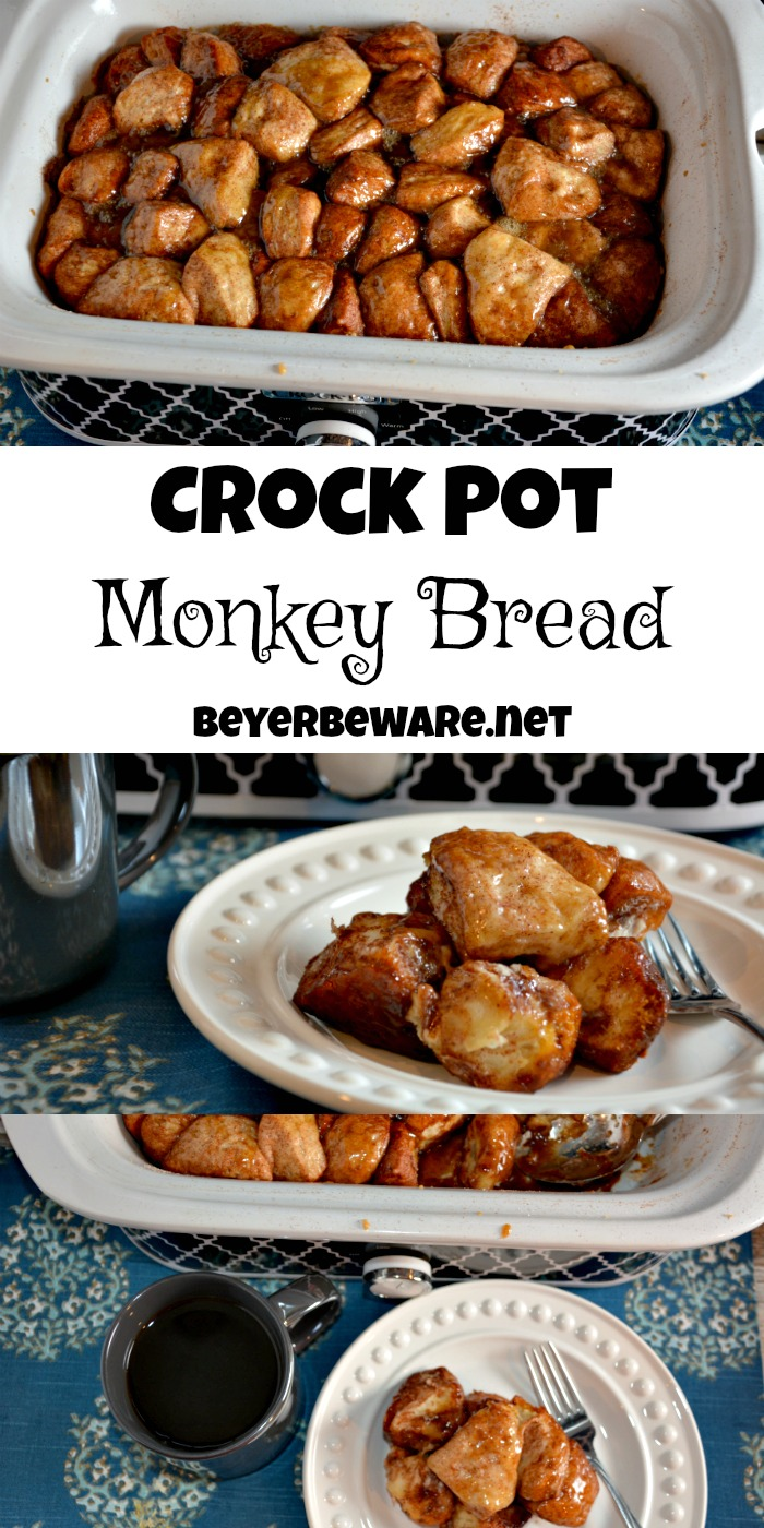 Crock Pot Monkey Bread uses refrigerator grands biscuits with sugar and cinnamon to create a warm and gooey sticky pull apart bread. #crockpot #Monkeybread #Bread #Breakfast