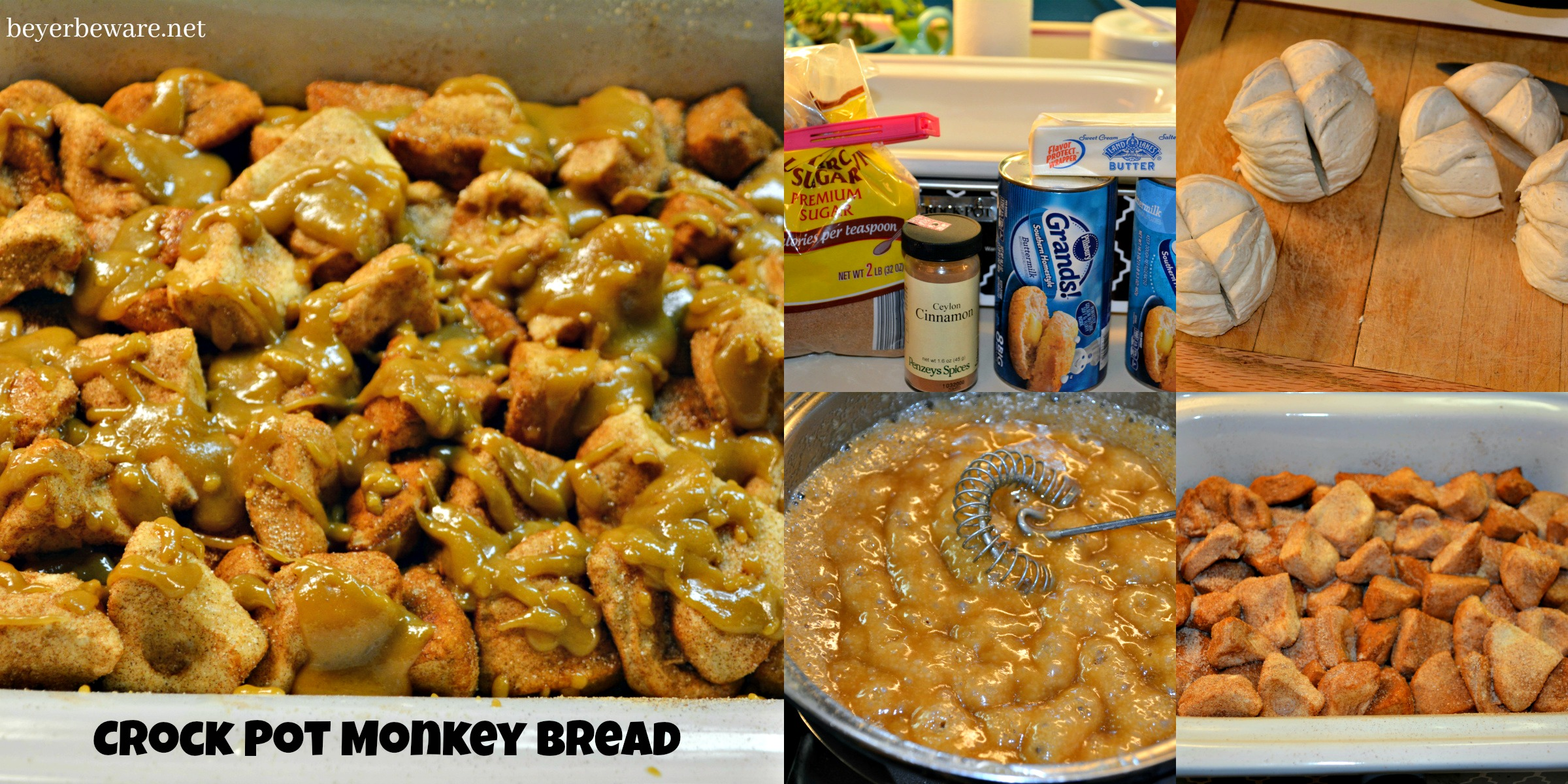 Five simple ingredients combined in a casserole crock pot and you are two hours away from this gooey crock pot monkey bread.