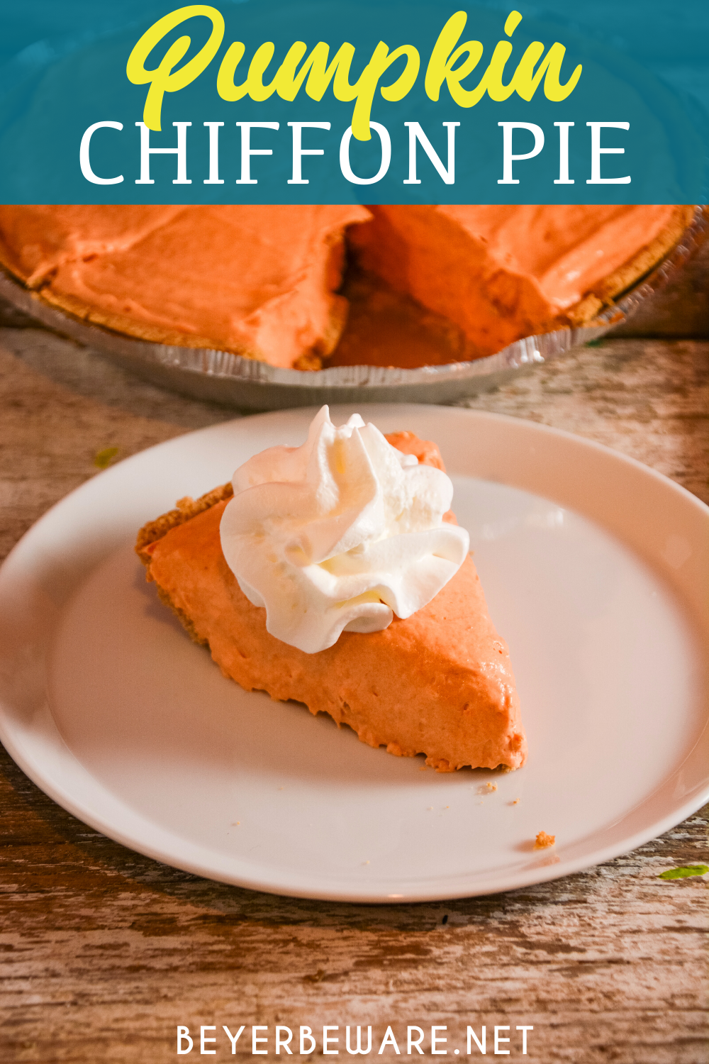 This Pumpkin Chiffon Pie recipe is the silky, creamy no-bake version of a traditional pumpkin pie, made with real pumpkin and pudding in a graham cracker crust.
