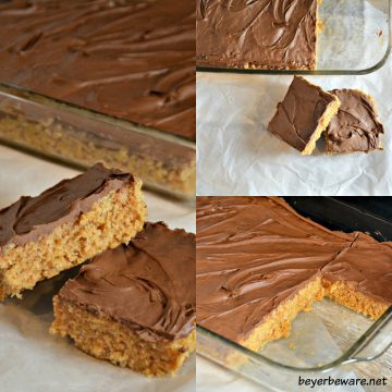 Scotcheroos are the peanut butter ricke krispies treats everyone will crave. The no-bake peanut butter chocolate bars ready in under 15 minutes.