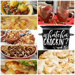 This week's Whatcha Crockin' crock pot recipes include Sweet and Salty Crock Pot Candy, Slow Cooker Pinto Bean Stew with Corn Bread Dumplings, Crock Pot Cinnamon Roll French Toast, Crock Pot Cranberry Cider, Crock Pot Ham and Cheese Rolls, No Fuss Chicken Dinner, Crock Pot Chex Mix and much more!