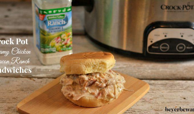 Crock Pot Creamy Chicken Bacon Ranch Sandwiches