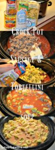 This creamy, cheesy, spicy crock pot sausage tortellini soup is perfect for a weeknight when you need filling meal waiting for you when you get home.