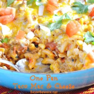 The Mexican flavors in this one pan taco mac and cheese will make your family love this recipes twist on hamburger helper. In less than 30 minutes you have one dirty pan and dinner on the table.