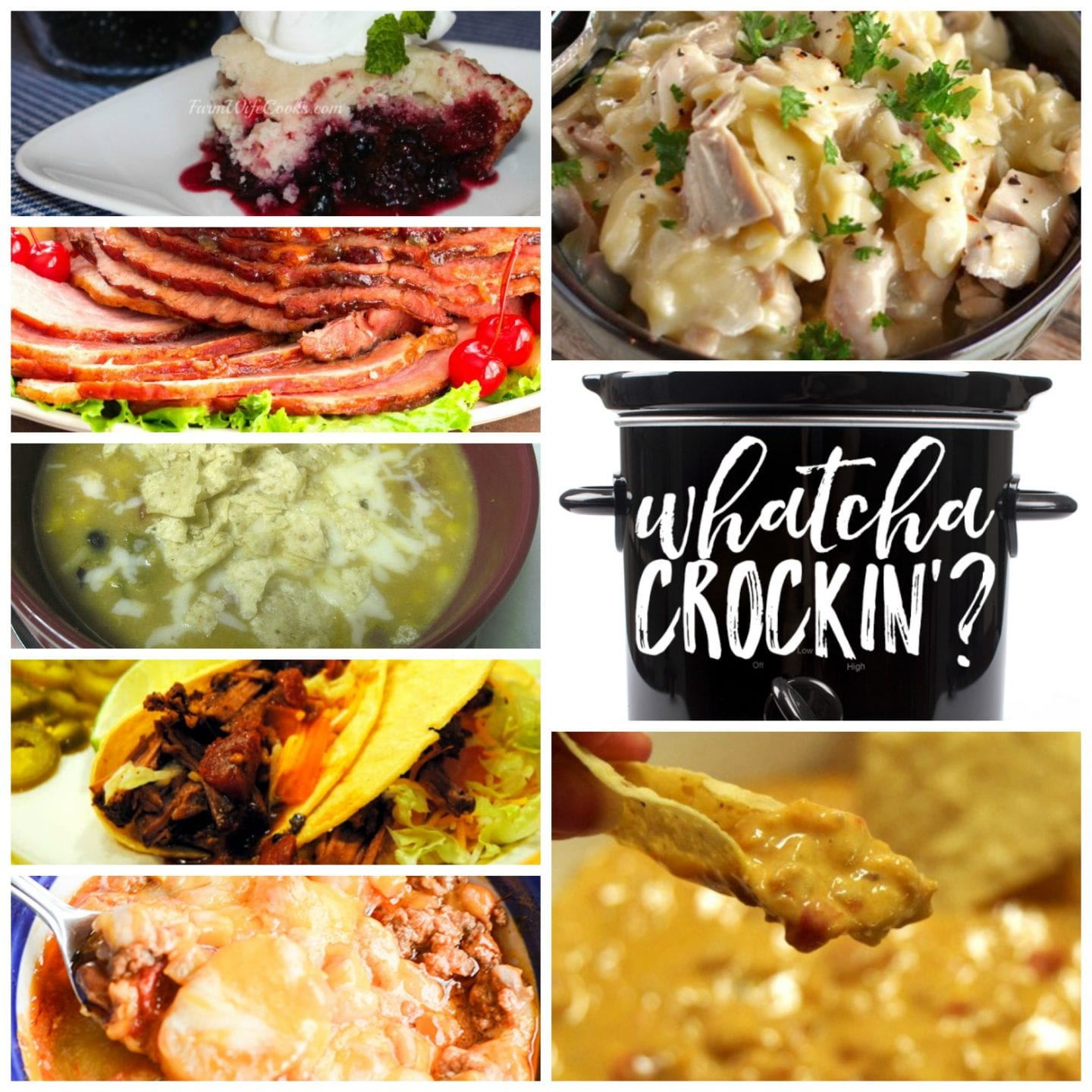 This week's Whatcha Crockin' crock pot recipes include Slow Cooker Chicken and Noodles, Slow Cooker Chicken Enchilada Soup, Crock Pot Cowboy Casserole, Mixed Berry Dump Cake, Slow Cooked Pineapple Brown Sugar Glazed Ham, Texas Queso Dip, Slow Cooker Mexican Pot Roast Tacos and much more!