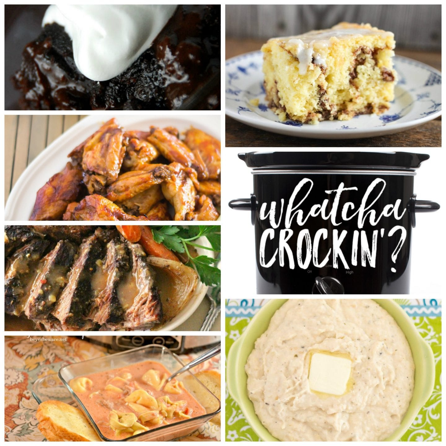 This week's Whatcha Crockin' crock pot recipes include Crock Pot Coffee Cake, Crock Pot Cheesy Buttermilk Mashed Cauliflower, Coca Cola Pot Roast, Crock Pot Hot Fudge Brownies, Crock Pot Sausage Tortellini Soup, Crock Pot Honey BBQ Buffalo Chicken Wings and much more!