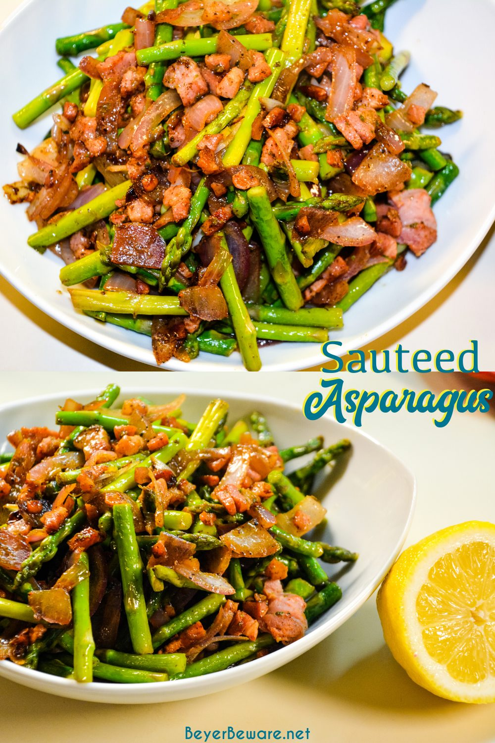 Sauteed asparagus with bacon and onions recipe is the perfect low-carb side dish to make with fresh spring asparagus without taking too much time or effort.