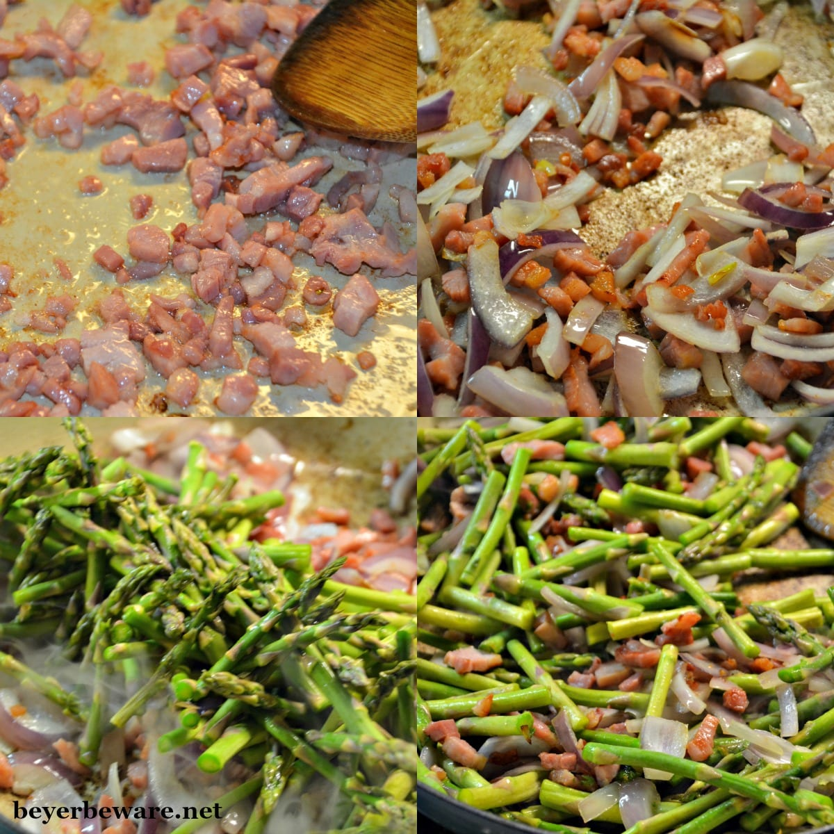 A quick sauteed asparagus with bacon and onions recipe is the perfect side dish with fresh spring asparagus.