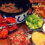 Whether it is a week night, a tailgate or a county fair, walking tacos are always a hit. Making the crock pot taco meat walking tacos just makes life simpler when you really do need to eat on the go.