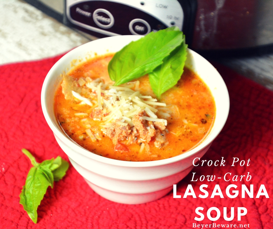 Creamy, rich, and meaty make this crock pot low-carb lasagna soup recipe one I will make over and over.