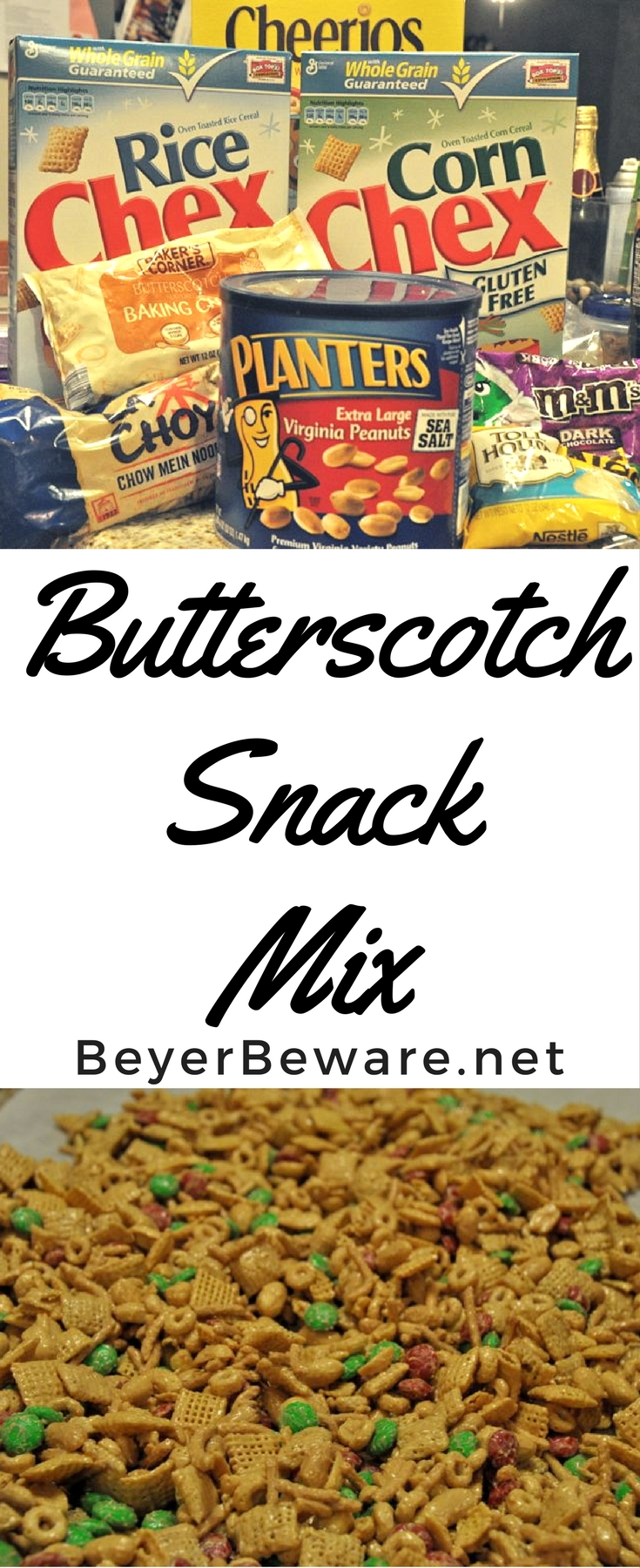 The sweet and salty combinations of cereal, peanuts, and candy all covered in a sweet butterscotch coating makes this butterscotch snack mix an addicting treat.