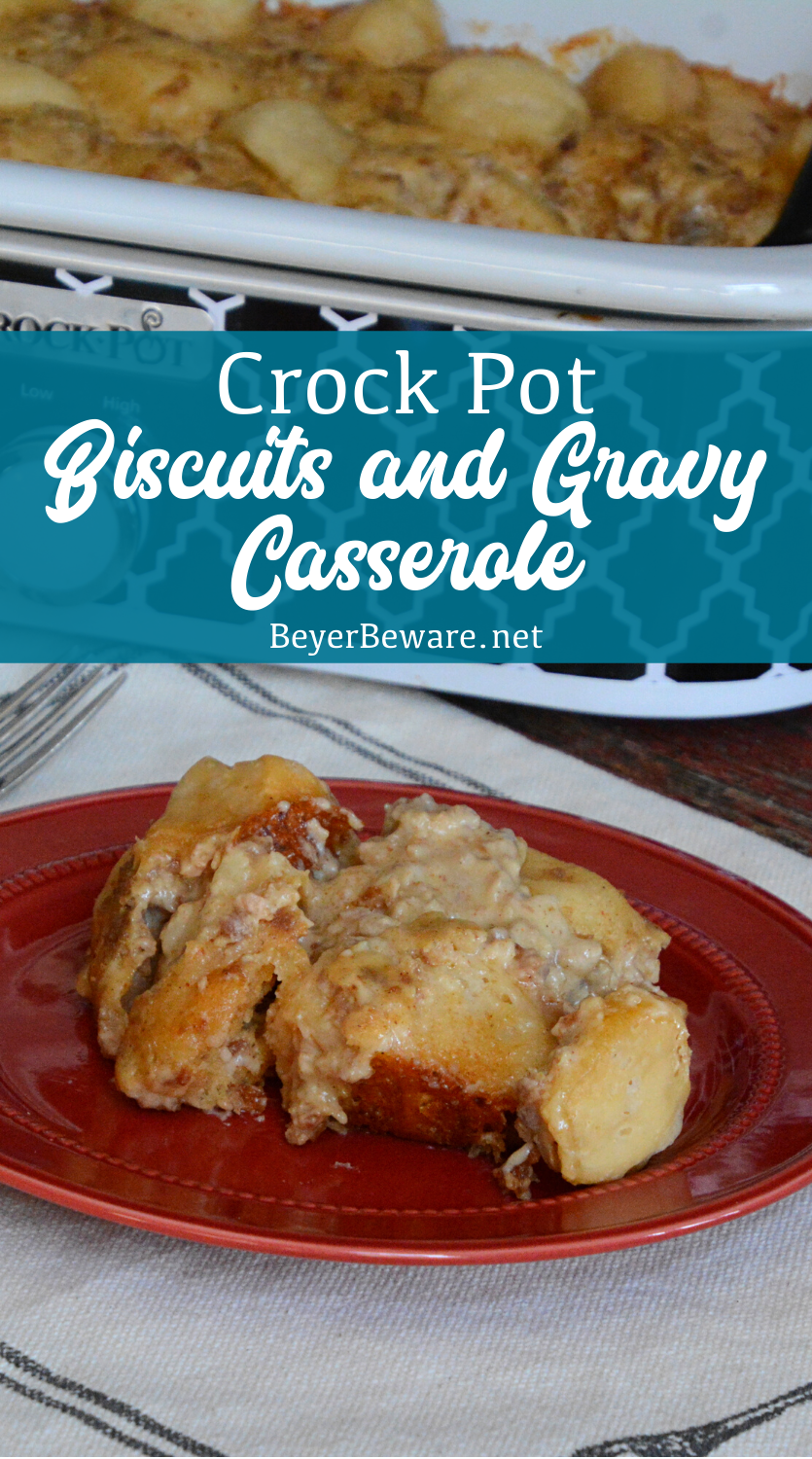 Crockpot Biscuits and Gravy Casserole is a slow cooked combination of grands biscuits with country sausage gravy for an amazing breakfast casserole that isn't egg based.