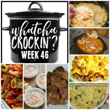 This week's Whatcha Crockin' crock pot recipes are perfect for fall including Crock pot Chicken Wild Rice Soup, Crock Pot Creamy Chicken Dip, Crock Pot Broccoli Cheese Casserole, Crock Pot Lasagna, Easy Crock Pot Chicken Chili Recipe with Cheese and Salsa, Loaded Baked Beans Perfect for Tailgating, Busy Day Slow Cooker Pot Roast, Crock Pot Pepper Steak and many more!