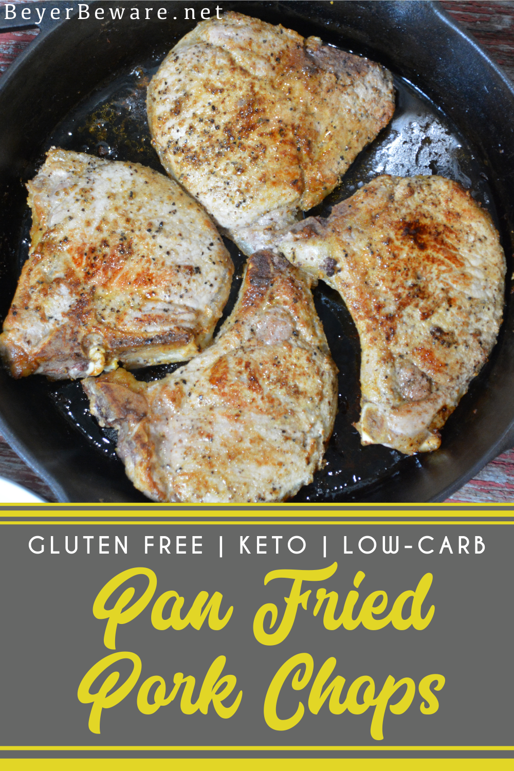 Pan-Fried pork chops recipe has no flour, no marinading, no waiting, just juicy, flavorful pork chops cooked in a buttered cast iron skillet in under 30 minutes.