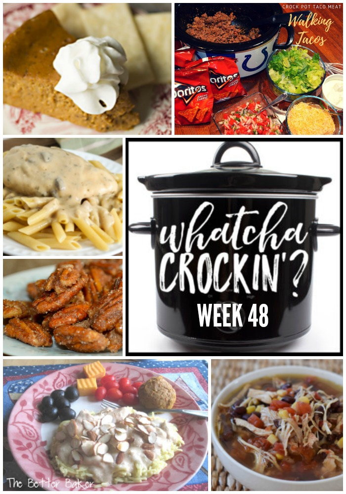 Looking for some crock pot inspiration? Something to make dinner time just a bit tastier? Look no farther than this week's Whatcha Crockin' Wednesday! This week's WCW recipes include Easy Baked Potatoes, Slow Cooker Chicken Mess, Crock Pot Taco Meat - Walking Tacos, Crock Pot Crustless Pumpkin Pie, Creamy Herbed Chicken, Crock Pot Glazed Pecans and Crockpot Chicken Tortilla Soup.