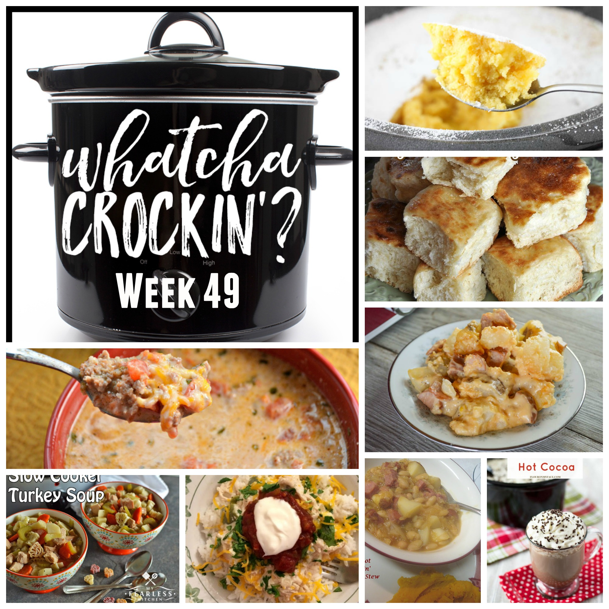 This week's Whatcha Crockin' crock pot recipes include Slow Cooker Ranch Chicken Rice Bowls, Warm Winter Lemon Cake, Crock Pot Low Carb Taco Soup, Crock Pot Cheesy Smoked Sausage and Potato Bake, Crock Pot Homemade Yeast Rolls, Sweet and Creamy Crock Pot Hot Cocoa, Crockpot Beans 'n' Kraut Stew, Slow Cooker Turkey Soup and many more!
