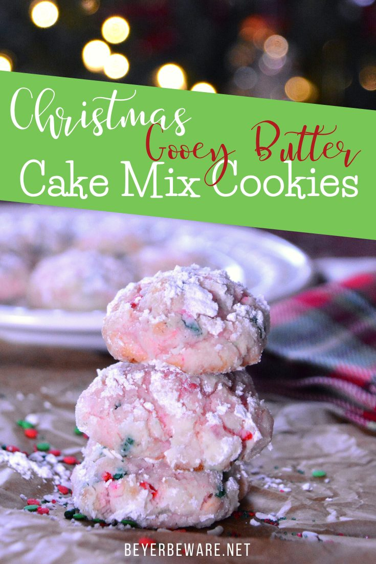 Christmas cake mix gooey butter cookies are a light and fluffy cookie made with a funfetti cake mix, eggs, butter, and cream cheese and rolled in powdered sugar.