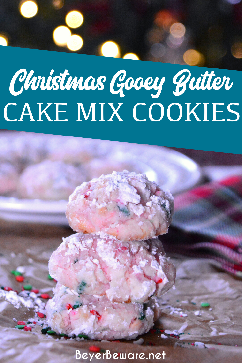 Christmas cake mix gooey butter cookies are a light and fluffy cake mix Christmas cookie made with just for ingredients.