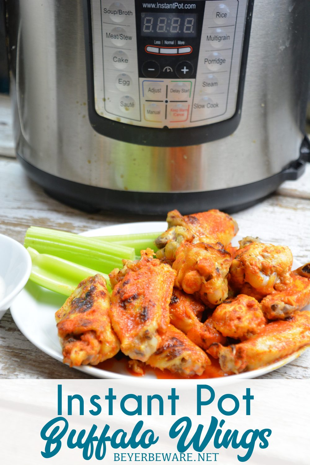 Instant Pot Buffalo Wings are a quick buffalo wings recipe yet fall of the bone tenderness all while being drenched in an easy buffalo sauce.