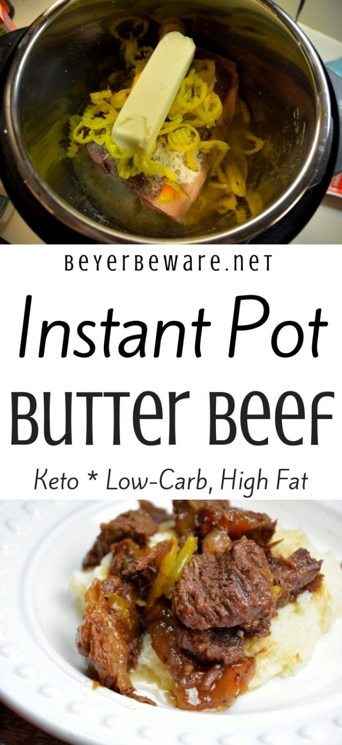 Keto Instant Pot butter beef roast recipe is full of flavor, tender to eat and perfect over mashed cauliflower. Carb eaters can eat this as a sandwich or over mashed potatoes. #Keto #InstantPot #Butter