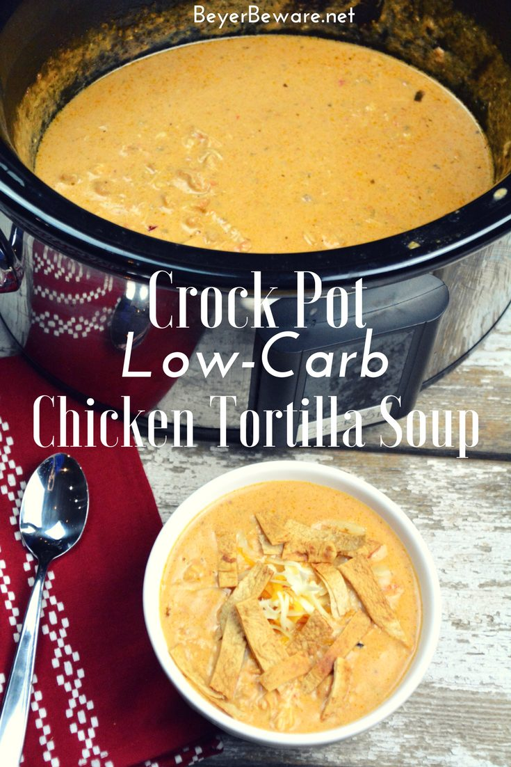 Crock Pot Low-Carb Tortilla Soup Recipe is the best keto soup recipe. I am obsessed with chicken tortilla soup from Max and Erma's. This crock pot low-carb chicken tortilla soup recipe is creamy and hearty and will not leave you craving. #Keto #LowCarb