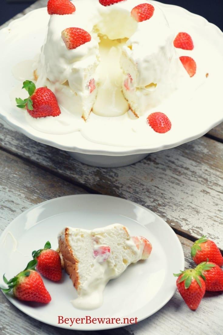 Strawberries And Cream Angel Food Cake Beyer Beware