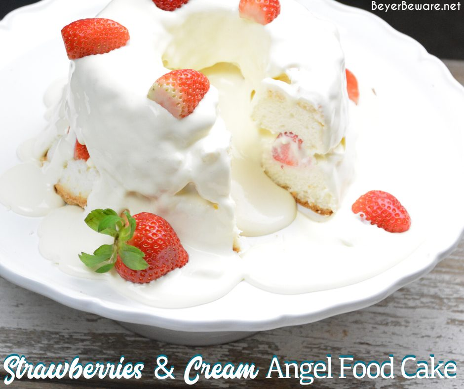 Strawberries and Cream Angel Food Cake is a semi-homemade dessert that is ready in under 10 minutes with a store-bought cake, instant pudding, and cool whip.