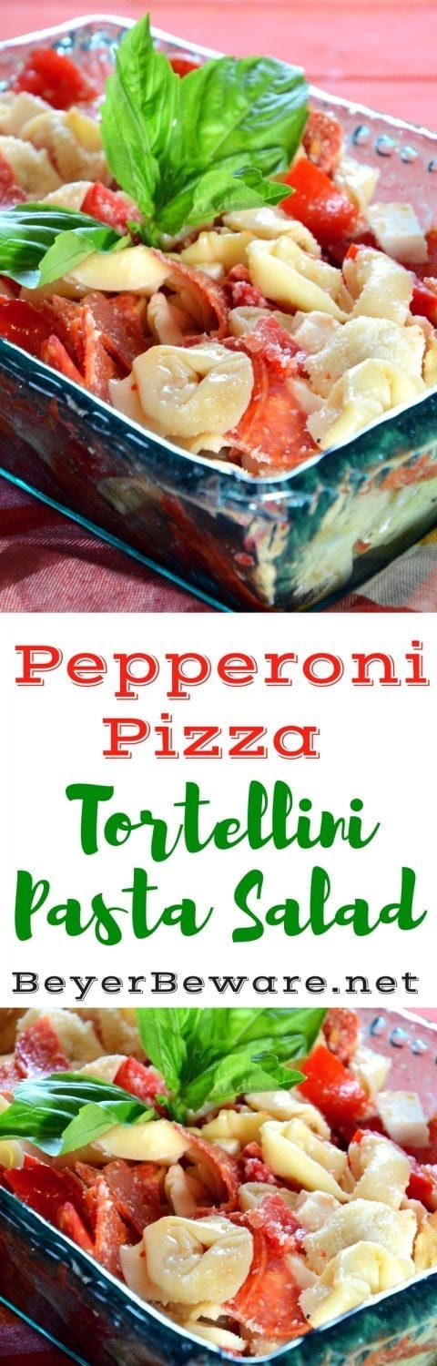 For pizza lovers, this pepperoni pizza tortellini pasta salad will quickly become one of your favoritepasta salads with cheese, tomato, and pepperoni flavors in every single bite.