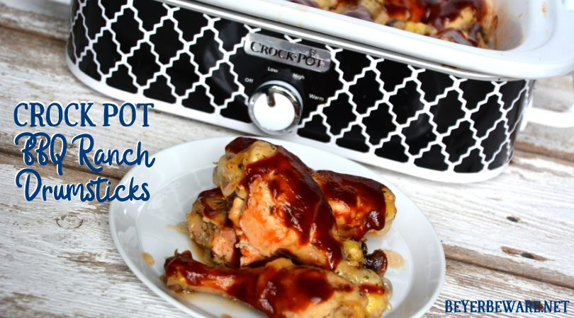 Crock Pot BBQ Ranch Chicken Legs is a simple three-ingredient chicken drumsticks recipe that cooks in the casserole crock pot in three hours. #CrockPot #ChickenRecipes #ChickenLegs