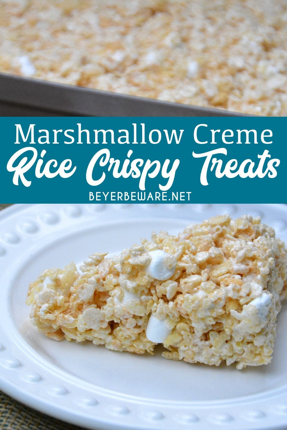 Marshmallow creme rice crispy treats are the no-bake, gluten free dessert every child loves and is so easy to make with marshmallow fluff, butter, marshmallows and Rice Krispies.