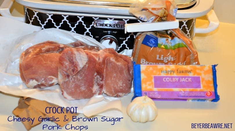 Crock Pot Cheesy Garlic and Brown Sugar Pork Chops are the combination of garlic and brown sugar flavors in the casserole crock pot create the juiciest and flavorful pork chops ready to eat as soon as you get home.