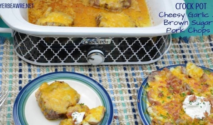 Crock Pot Cheesy Garlic and Brown Sugar Pork Chops