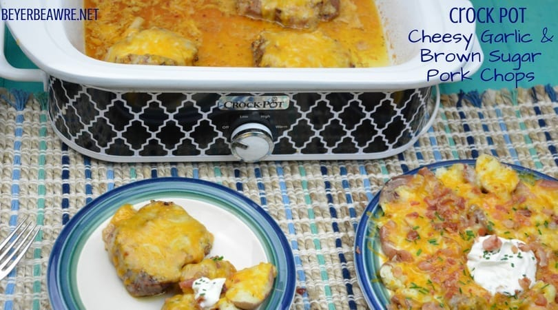 Crock Pot Cheesy Garlic and Brown Sugar Pork Chops have unique flavor combinations in the casserole crock pot to create flavorful crock pot pork chops.