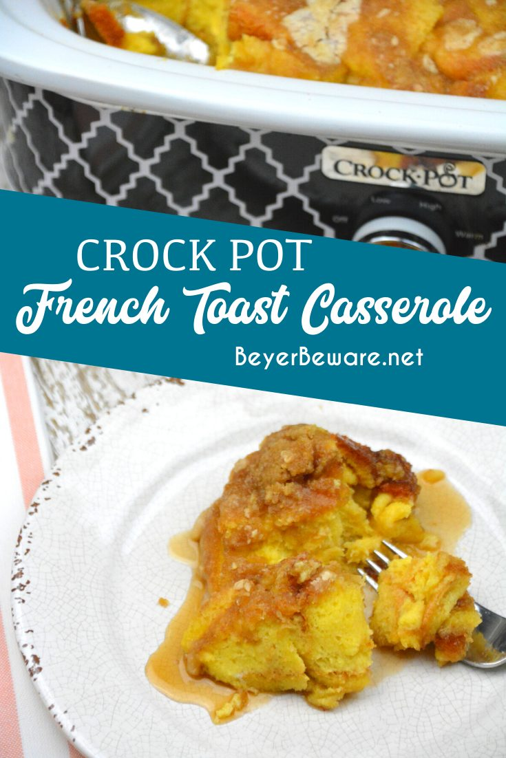 Crock Pot French toast casserole is a rich caramelized French toast recipe with rich maple flavors and the combination of a crumb top with a caramel bottom and fluffy bread middle.