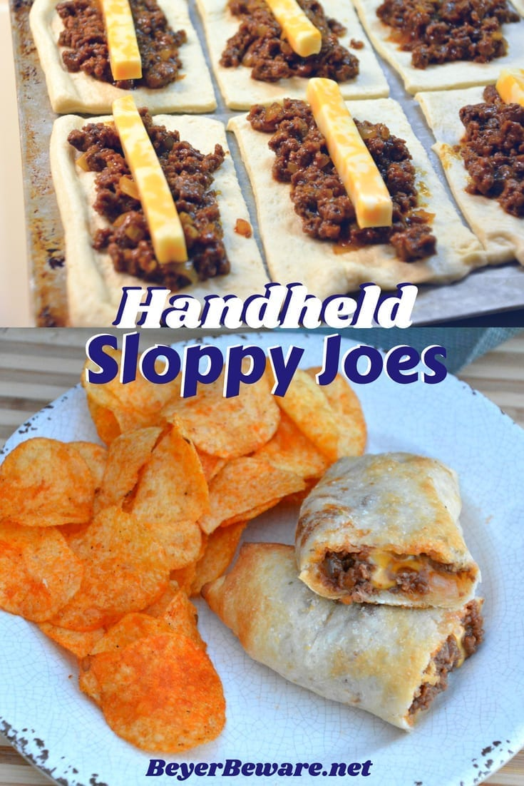 Sloppy joe sticks are handheld sloppy joes that meld meat and cheese together inside a burrito made from pizza crust. #easyrecipes #Sloppyjoes #Weeknightmeals