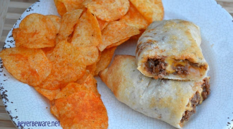These sloppy joe sticks are handheld sloppy joes that meld meat and cheese together inside a burrito made from pizza crust.