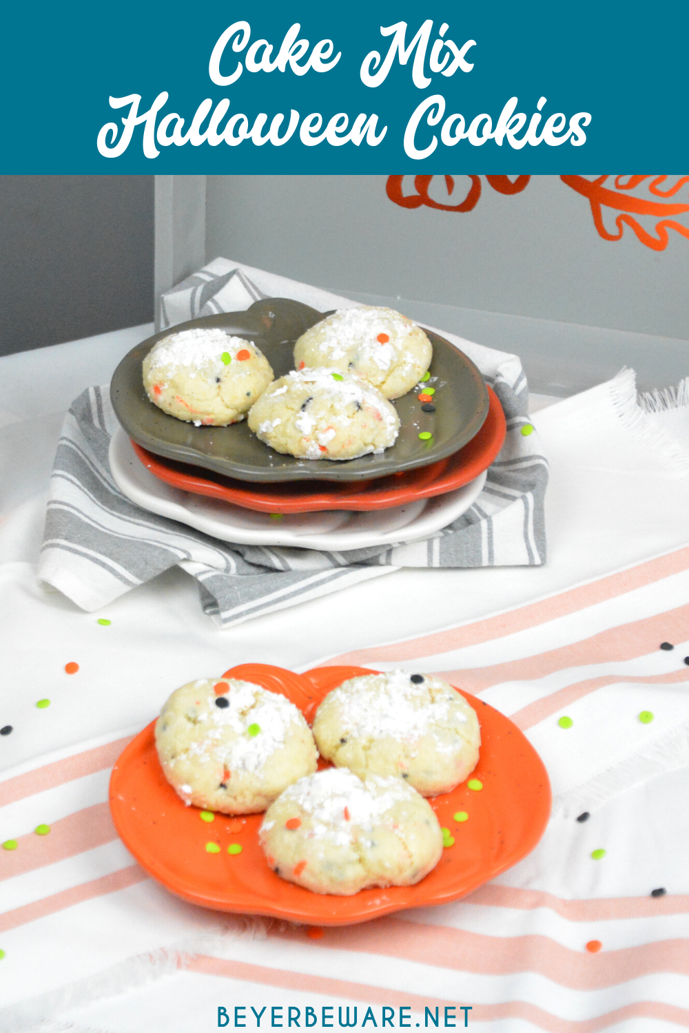 Cake Mix Halloween Cookies are a sweet combination of the funfetti cake mix with cream cheese, butter, vanilla, and eggs to form the softest cookies everyone will love.