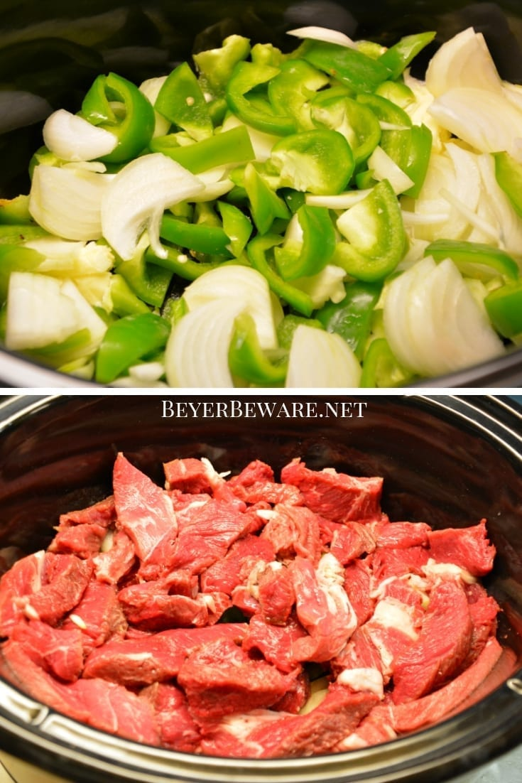 Crock Pot Pepper Steak is a flavorful Chinese food favorite combining strips of steak, bell peppers, onions, garlic, and with traditional Chinese flavors. #ChineseFood #Steak #PepperSteak #BeefRecipes #CrockPotRecipes