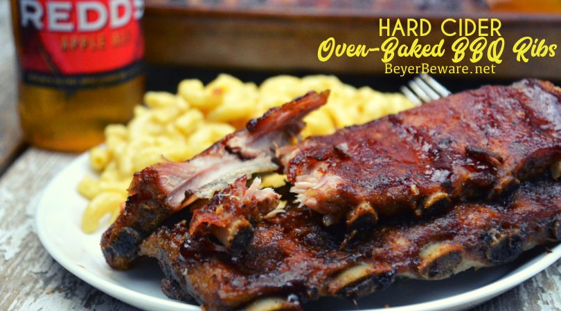These hard cider oven-baked BBQ ribs were dripping with flavor and fall off the bone pork goodness.