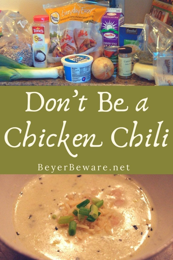 Don't Be a Chicken Chili is a creamy chicken soup recipe that will warm you up and fill your belly for a night of fun.